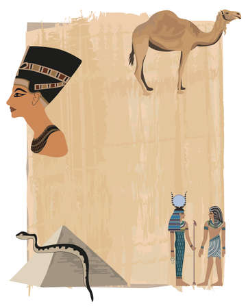 Papiro de fondo con Nefertiti y jeroglíficos