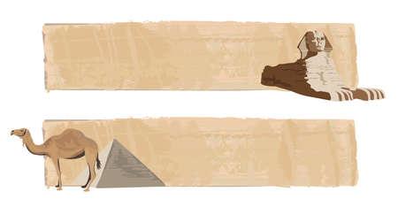 esfinge: Banderas de papiro con la esfinge y el camello