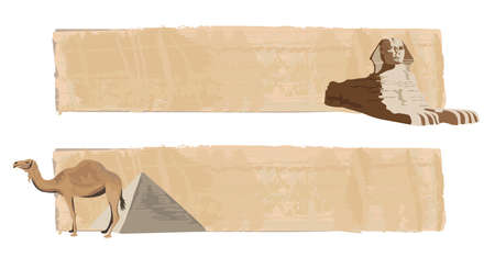 cheops: Papyrus banners with sphinx and camel  Illustration