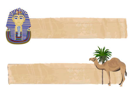 pharaoh: Papyrus banners with Tutankhamun and a camel