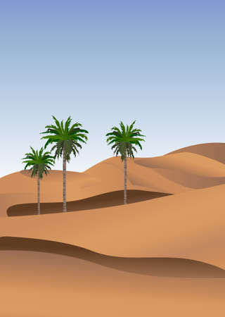 Background illustration of the desert with palm trees Vector