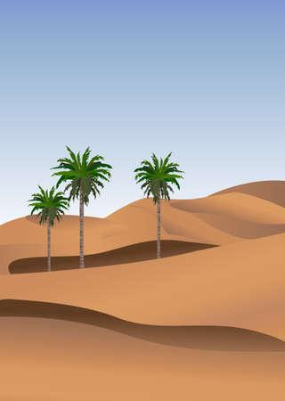 sahara desert: Background illustration of the desert with palm trees