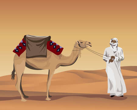Background illustration with a bedouin and a camel Vector