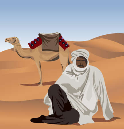 tunisia: Background illustration with a bedouin and a camel