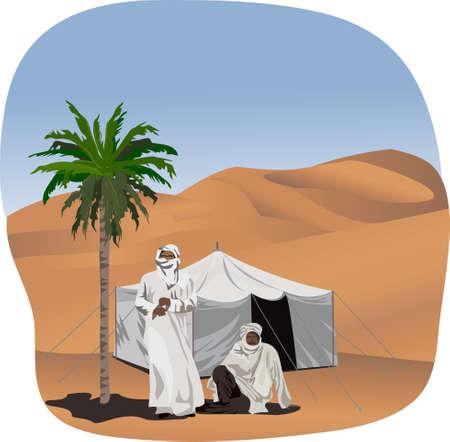 desierto del sahara: Ilustración de fondo con beduinos y una tienda de campaña