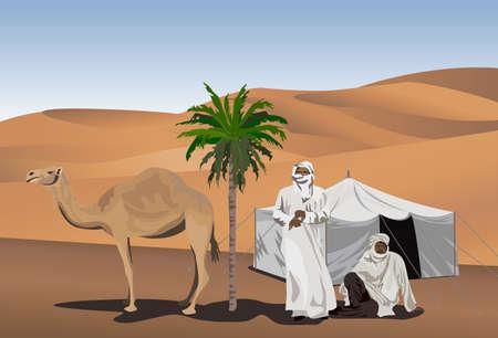 Ilustración de fondo con beduinos y camellos
