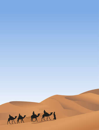 arabic desert: Background illustration with a camel caravan Illustration