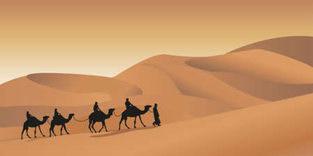 caravan: Background illustration with a camel caravan Illustration