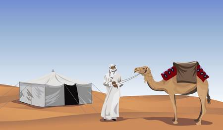 Background illustration with a bedouin and a camel