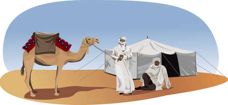 animales del desierto: Ilustración de fondo con beduinos y camellos