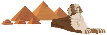 cheops: Background illustration with the sphinx and the pyramids  Illustration