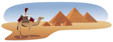 Ilustración de fondo con un beduino y las pirámides de Giza