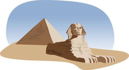 Background illustration with the sphinx and the pyramid  Vector
