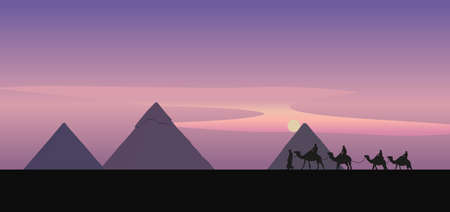 menkaure: Background illustration with a camel caravan and the pyramids of Giza