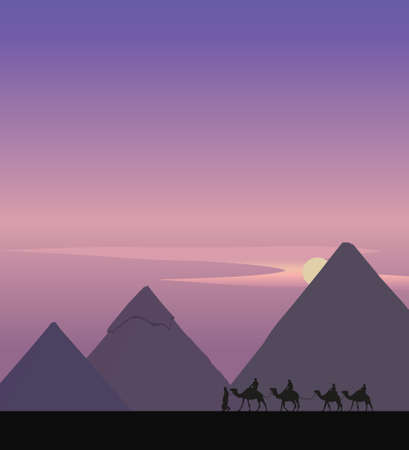 necropolis: Background illustration with a camel caravan and the pyramids of Giza