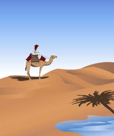 desert oasis: Background illustration with a bedouin and a camel  Illustration