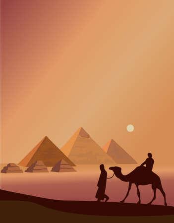 Ilustración de fondo con los beduinos y las pirámides de Giza