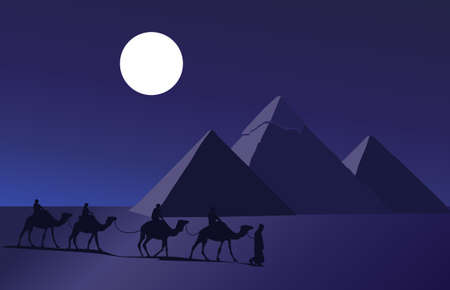 Background illustration with a camel caravan and the pyramids of Giza
