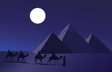 duna: Ilustraci�n de fondo con una caravana de camellos y las pir�mides de Giza  Vectores