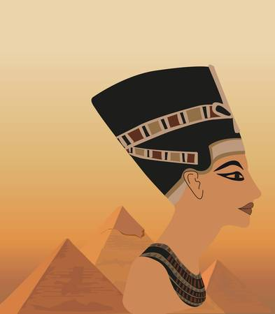 Ilustración de fondo con Nefertiti y las pirámides