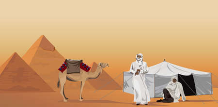 Background illustration with bedouins and the pyramids of Giza Vector