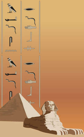 Background illustration with the sphinx and hieroglyphs