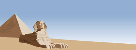 Background illustration of the sphinx and the pyramid Vector