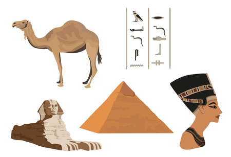 khafre: Illustration with symbols of Egypt isolated on white Illustration
