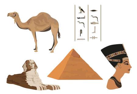 esfinge: Ilustraci�n con los s�mbolos de Egipto aislado en blanco Vectores