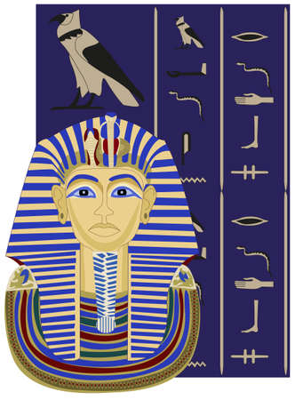 pharaoh: Background illustration of Tutankhamun and hieroglyphs