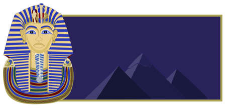 Background illustration of Tutankhamun and the pyramids