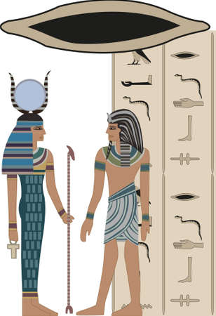 Illustration with hieroglyphs on white background  Vector