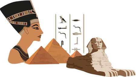 esfinge: Ilustraci�n con s�mbolos de Egipto aislados en blanco