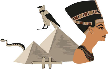 ancient bird: Illustration with symbols of Egypt isolated on white Illustration