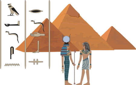 necropolis: Illustration with symbols of Egypt isolated on white Illustration