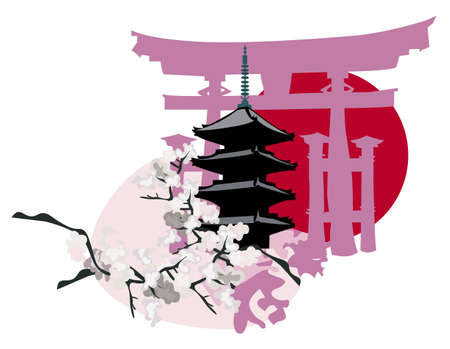 spring in japan: Ilustration with Japanese Landmarks; Pagoda and Torii Gate