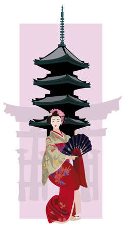 geisha kimono: Illustration with Geisha, Japanese Pagoda and Torii Gate Silhouette