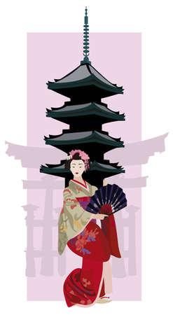 kyoto: Illustrazione con Geisha, giapponese Pagoda e Torii Silhouette Porta