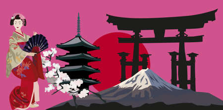 Illustration with Geisha, Japanese Pagoda and Torii Gate Silhouette