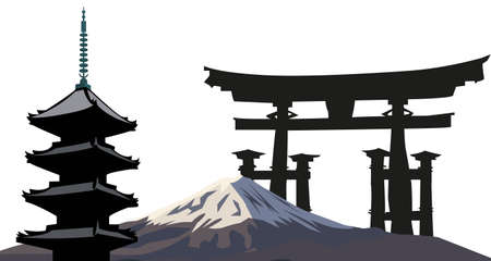 Illustration with Japanese Landmarks; Pagoda and Torii Gate Vector