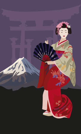 Background illustration with Geisha and Mount Fuji