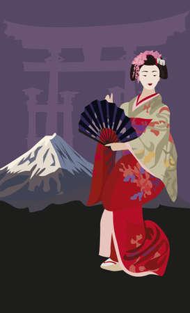 geisha kimono: Background illustration with Geisha and Mount Fuji