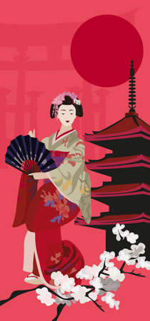 Background illustration with Geisha and Pagoda  Vector
