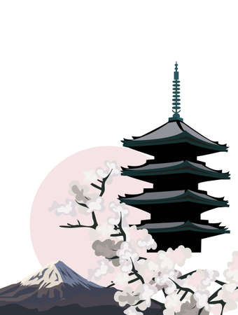 Background illustration with Pagoda Temple and Cherry Blossoms