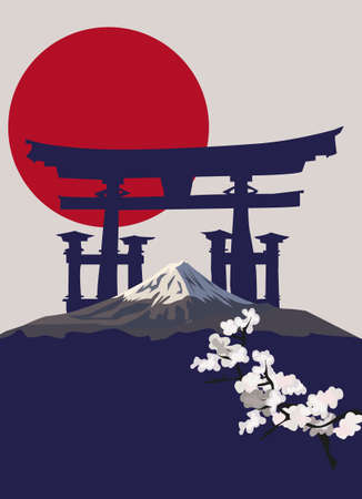 japan flag: Background illustration with Mount Fuji and Torii Gate