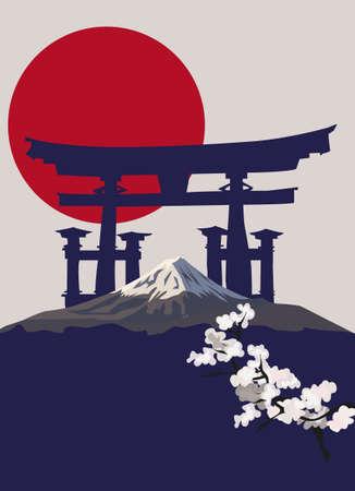 torii: Ilustraci�n de fondo con el monte Fuji y la Puerta de Torii