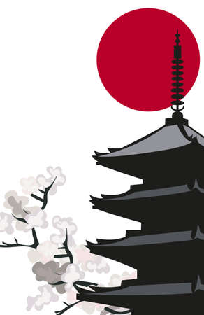 japanese flag: Background illustration with Pagoda Temple and Cherry Blossoms