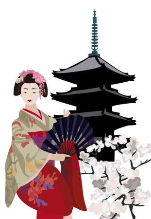 geisha kimono: Illustration with Geisha, Pagoda Temple and Cherry Blossoms