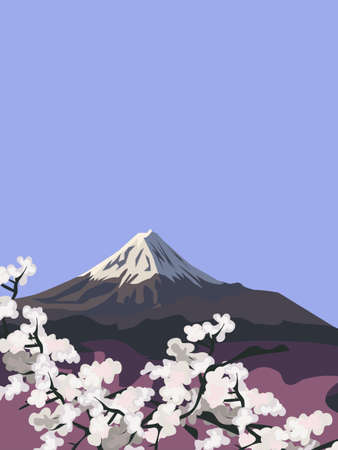 Background illustration with Mount Fuji and Cherry Blossoms Vector