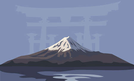 Background illustration with Mount Fuji and Torii Gate Vector